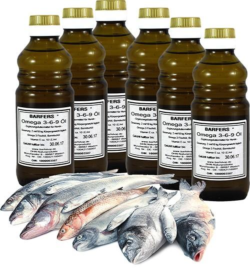 BARFERS® Omega 3-6-9 Öl Six-Pack (6 x 250 ml)